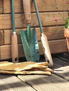 clearing pots and objects from the decking area