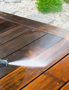Jet washing decking