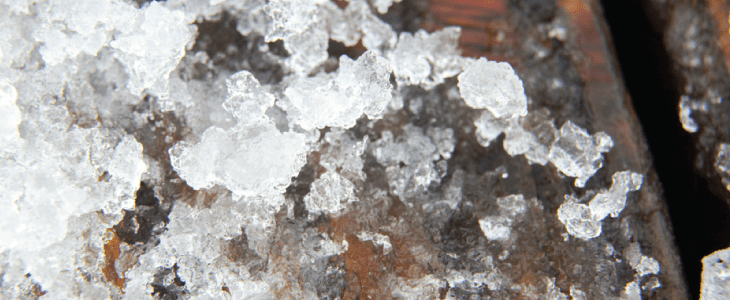 snow and ice on decking