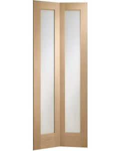 XL Internal Oak Un-finished Pattern 10 Bi-Fold Door with Clear Glass