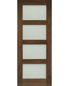 Deanta Internal Walnut Coventry Obscure Glazed Door