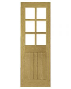 Glazed Mexicano Oak Door with Bevelled Glass