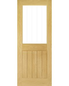 Deanta Pre-Finished Glazed Ely/Mexicano Style Oak Door with Etched Glass