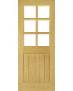 Deanta Pre-Finished Glazed Ely / Mexicano Oak Door with Bevelled Glass