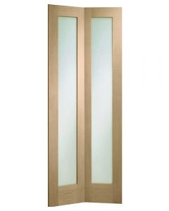 Made to Measure Bi-Fold Glazed Oak Novara Door Including Track Kit