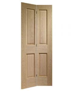 Made to Measure Bi-Fold Oak 4 Panel Door Including Track Kit