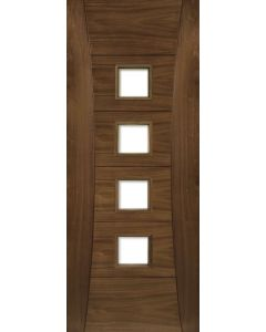 Deanta Internal Pamplona Pre-Finished Walnut Clear Glazed Door