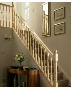 Pine Staircase and Landing Kit with 41mm Turned Spindles and Newel Posts
