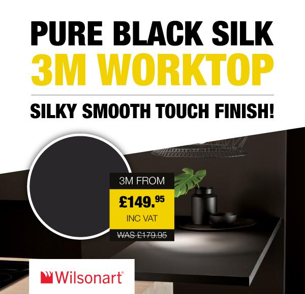 Pure Black Silk Wilsonart 40mm Square Edge Worktop