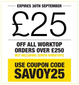 £25 off all worktop orders over £250