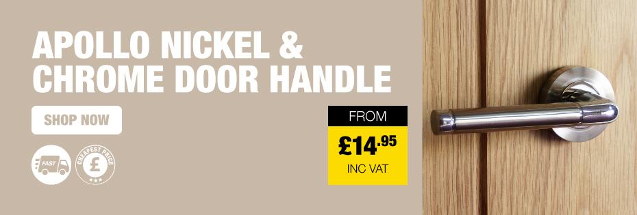 Apollo Nickel \u0026 Chrome Door Handle On Rose  sc 1 st  Savoy Timber & Cheap Door Handles Levers Knob Locks \u0026 Latches | Savoy Timber