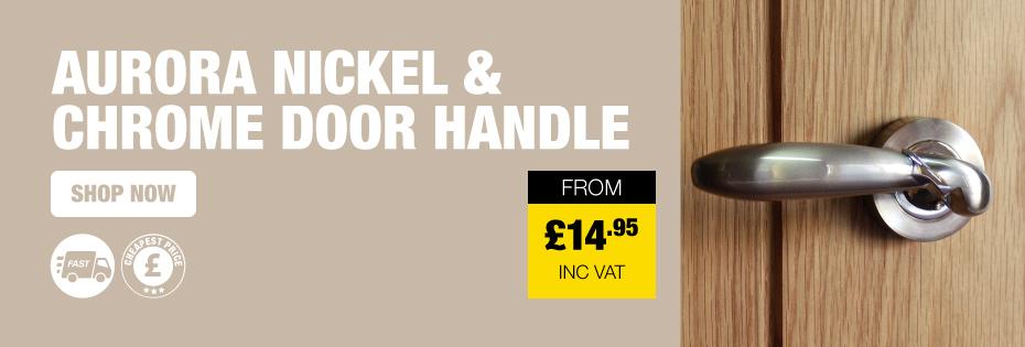 Aurora Nickel & Chrome Door Handle On Rose
