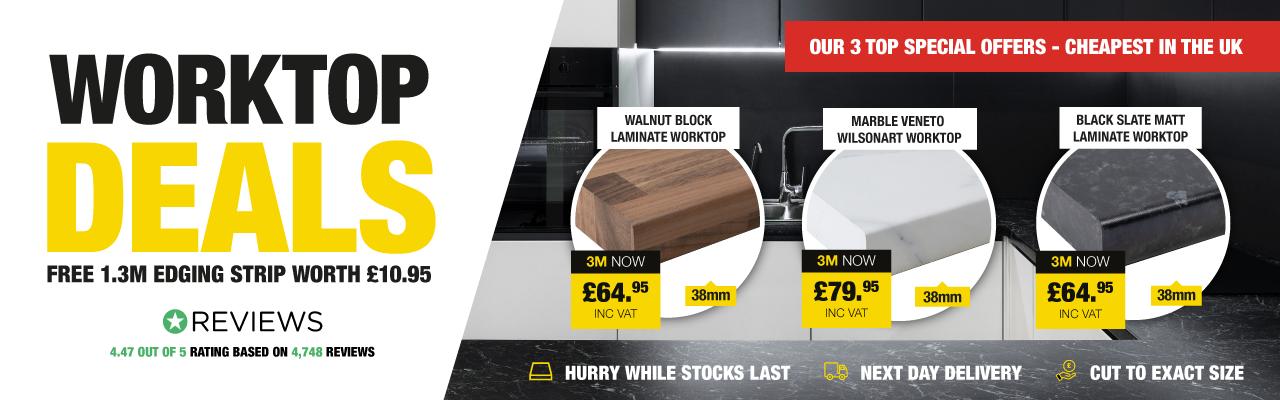 Worktop Deals - Free edging strip with 3m worktop